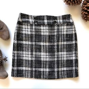 New! Ann Taylor Black & White Plaid Tweed Skirt